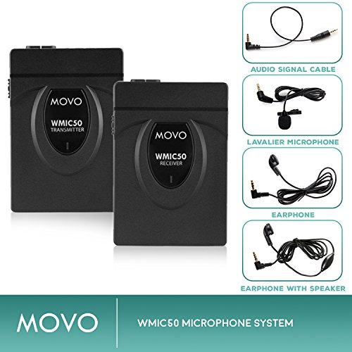 Movo WMIC50 2.4GHz Wireless Lavalier Microphone System with Integrated 164-foot Range Antenna (Includes Transmitter with Belt Clip, Receiver with Camera Shoe, Lavalier and 2 Earphones) by Movo (Image #3)