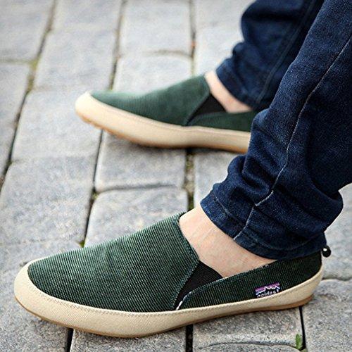 L Loubit Män Mode Sneakers Halka På Tillfälliga Promenadskor Mjuk Tygskor Grönt