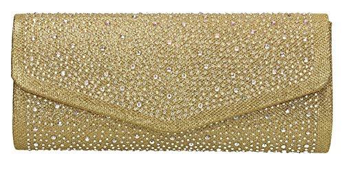 Esther mit Glitzer Umschlag Damen Clutch Party Ball Ladies Bag–SwankySwans Gold WwfXy