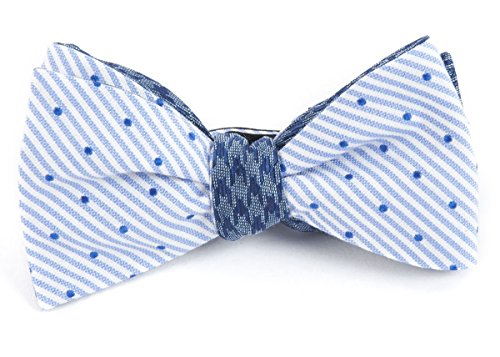The Tie Bar Cotton Blend Aisle Houndstooth Blue Self-Tie Reversible Bow Tie ()