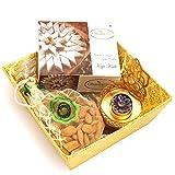 Ghasitaram Gifts Diwali Gifts Diwali Hamper Sweet Hampers - Yellow Basket Basket with Kaju Katli, Almonds Pouch with Ganesha T-Lite