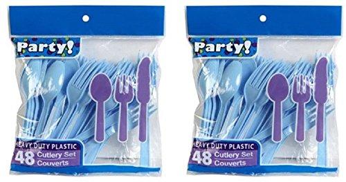 Heavy Duty Plastic Cutlery Set in Baby Blue - 32 Spoons, 32 Forks, 32 Knives - Light Blue