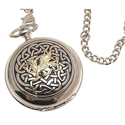 Engraving included - Pocket watch - Solid pewter fronted mechanical skeleton pocket watch - Two Tone celtic knot with dragon design 59
