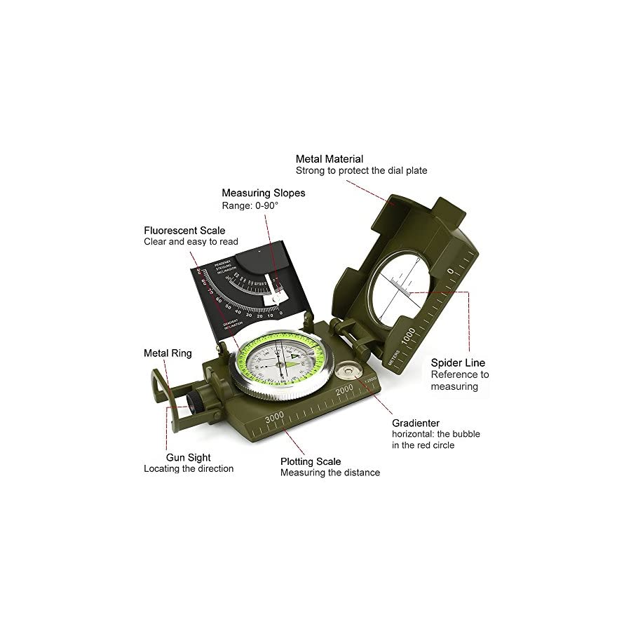 Dingsheng yuanhang Compass, Waterproof Hiking Military Navigation Compass with Fluorescent Design,Perfect for Outdoor Activities