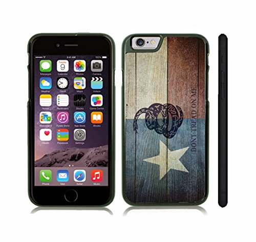 iStar Cases® iPhone 6 Case with Texas Flag Wooden Grunge w/ Don't Tread on Me Snake Design , Snap-on Cover, Hard Carrying Case (Black)