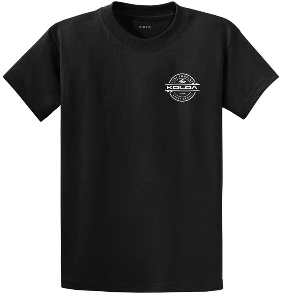Joe's USA Koloa Surf 2-Sided Thruster Logo Heavy Cotton T-Shirt-Black/w-S