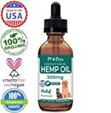 Full Spectrum Hemp Oil for Dogs and Cats (300mg) - Organically Grown & Made in USA - Pet Relief Formula Relieves Anxiety, Supports Hip & Joint Health, Naturally Relieves Pain, Herbal Supplement