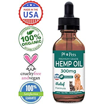 Hemp Oil for Dogs and Cats (300mg) - Organically Grown & Made in USA - Pet Relief Formula Relieves Anxiety, Supports Hip & Joint Health, Naturally Relieves Pain, Herbal Supplement