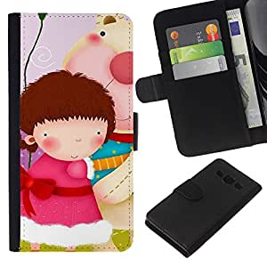 KLONGSHOP // Tirón de la caja Cartera de cuero con ranuras para tarjetas - Lindo Girls Gang - Samsung Galaxy A3 //