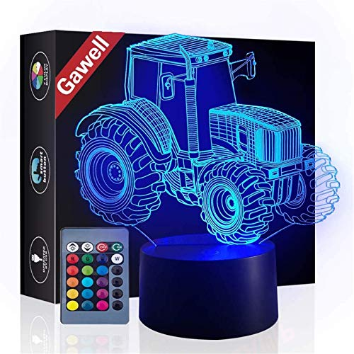 Christmas Gift Tractor 3D Illusion Beside Table Lamp, Gawell 16 Color Changing Touch Switch Decoration Birthday Present with Acrylic Flat & ABS Base & USB & Remote Control Cable Tractor Theme Toy