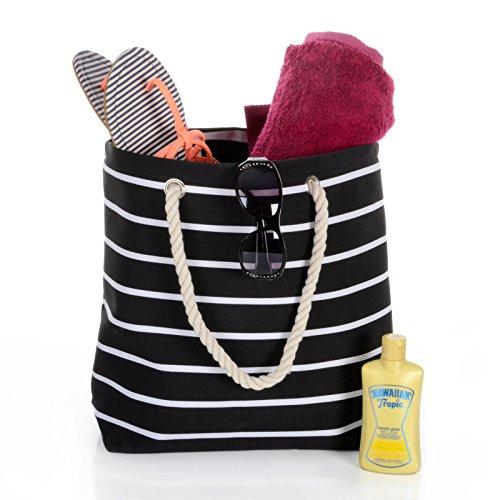 Reuseable Handbag Beach Bag Black Tote Stripe Shoulder Ladies Shopping Canvas 8qEawO0