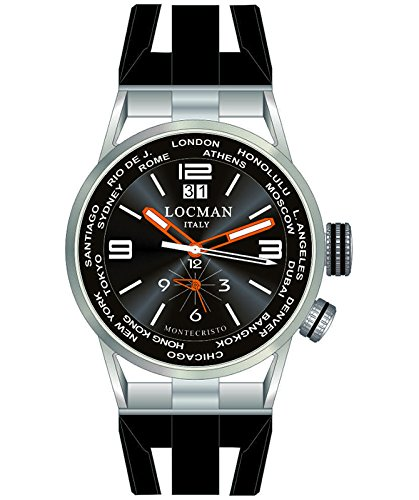 LOCMAN Watch World Dual Time Men's Automatic Chronograph 44mm Case Blk Dial