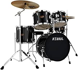 tama imperialstar 5 piece drum set with 18 bass drum and meinl cymbals black. Black Bedroom Furniture Sets. Home Design Ideas