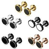 Aroncent 10 Pcs Mens Womens Stud Earring Set Stainless Steel Ear Stud Screw Back 8 MM Rosegold
