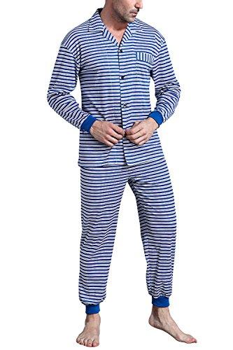 Collare Soft Cotone Controllare Camicia Da Uomo Smooth Pigiama Bottoni Notte amp; Con Lunga Pocket Per Primavera Pigiama Coppie Dolamen Blu Pantaloni SwqnXTfX