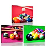 picture of a pool iKNOW FOTO 3 Pieces Canvas Prints Wall Art Pocket Billiard Balls Poster Pool Game Pictures Modern Walls Decor Stretched Gallery Wrapped Giclee Artwork Ready to Hang for Boys Room 12x16inchx3pcs