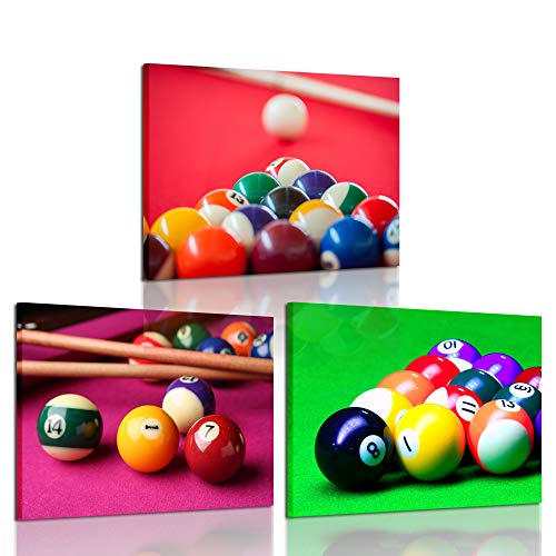 iKNOW FOTO 3 Pieces Canvas Prints Wall Art Pocket Billiard Balls Poster Pool Game Pictures Modern Walls Decor Stretched Gallery Wrapped Giclee Artwork Ready to Hang for Boys Room 12x16inchx3pcs
