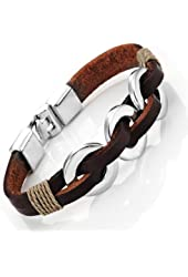 Chic Braided Brown Genuine Leather Bracelet with Stainless Steel Silver 8""