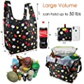 Foldable Reusable Grocery Bags 5 Cute Designs, Folding Shopping Tote Bag Fits in Pocket