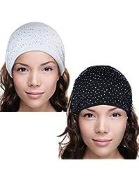 Sparkling Rhinestone and Dots Wide Elastic Headband - Black & White (2 Pcs)