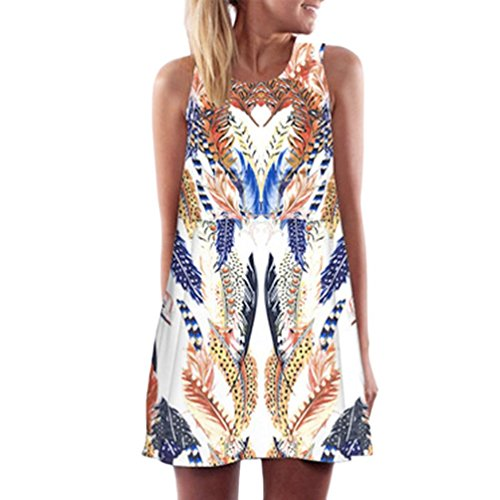 (FORUU Womens Girls Vintage Boho Summer Sleeveless Beach Printed Short Mini Dress (M, White 3))