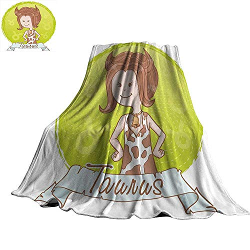 WinfreyDecor Taurus Super Soft BlanketsCute Cartoon Little Girl Dressed Like Cow with Spots and Horns Image 60