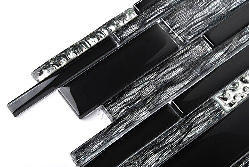 Black Silver Glass Tile Kitchen Backsplash Mosaic Art Home Decor Bath Wall NB09 (11 PCS [12'' X 12''/each]) by TST MOSAIC TILES (Image #4)