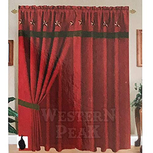 Western Peak Texas Western Embroidery Red Star Window Suede Curtain Lining 2 Panel (Red Suede Curtains)