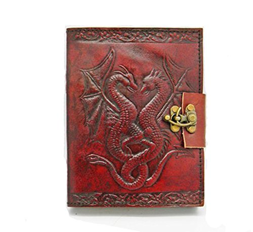 (CARVEx Leather Journal Double Dragon Handmade Writing Notebook 7 x 5 inches Unlined Paper, Brown Antique Leatherbound Daily Diary Notepad for Men & Women Gift)