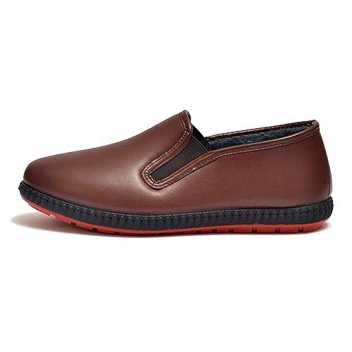 DAZISEN Hombres Zapatos de Chef PU Alpargatas - Antideslizante Seguridad Zapatos Sneakers Zapatilla: Amazon.es: Zapatos y complementos
