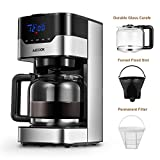 Coffee Machine with Timer Aicook Coffee Maker, 10 Cup Programmable Coffee Machine with Coffee Pot, Drip Coffee Maker with Timer and Thermal Pot, Permanent Filter Coffee Maker, Black