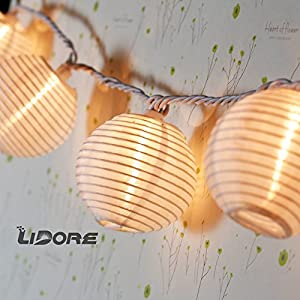 LIDORE White Chinese Mini Nylon Lantern String Light for Wedding, Party, Patio, Christmas Decoration. 10 Globes.