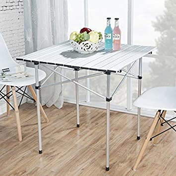 Deanurs Roll Up Portable Aluminum Folding Camping Square Tables PicnicTable for Outdoor Camping Hiking Lightweight Picnic Table , 28 x 28 w Carry Bag,Silver