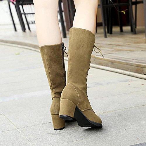 Lady Calf Winter Mid Up Khaki Shoes Mid Lace Women Heel Boots FTXJ Zipper w0Exqf05