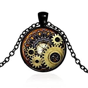 Brave669 Unisex Vintage Jewelry Steampunk Compass Gears Cog Cabochon Glass Pendant Necklace