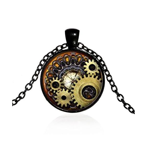 Brave669 Unisex Vintage Jewelry Steampunk Compass Gears Cog Cabochon Glass Pendant Necklace 3