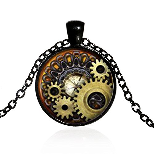 Unisex Vintage Jewelry Steampunk Compass Gears Cog Cabochon Glass Pendant Necklace