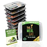 10 Pack] 32oz 3 Compartment Meal Prep Containers with Lids - Bento Box - Durable BPA Free Plastic Reusable Food Storage Containers - Reusable, Microwaveable & Dishwasher Safe