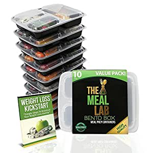Meal Prep Containers 3 Compartment Food Storage Container with Lids | BPA FREE Stackable, Reusable, Microwave, Dishwasher & Freezer Safe Bento Lunch Box | Divided Plates for 21 Day Fix Portion Control