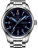 Gosasa Men's Tritium Watch Blue Light Sapphire Glass Stainless Steel Quartz Luminous Day Date Wrist Watches