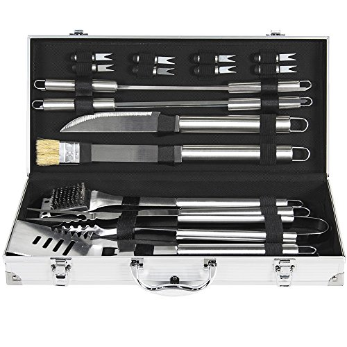 BBQ Grill Tool Set BCP 19pc Stainless Steel With Aluminum Storage (Dcs Stainless Steel Professional Range)