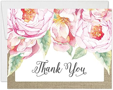 Country Blossom Wedding Thank You Cards Pack of 50 Thank You Cards