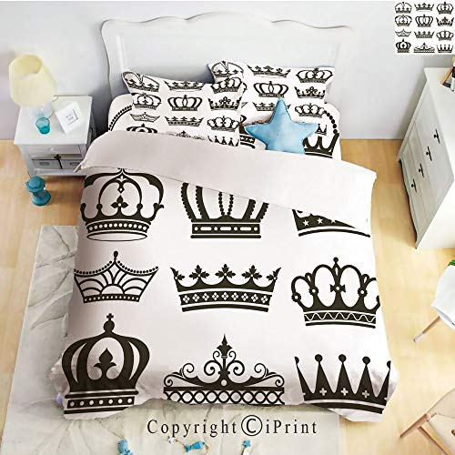 Homenon Classic Sheets 4 Piece Bed Sheet Set,Symbol of Royalty Crowns Tiaras for Reign Noble Queen Prince Princess Cartoon Image Decorative,Dark Brown,Twin Size,Softest Bed Sheets and Pillow Cases