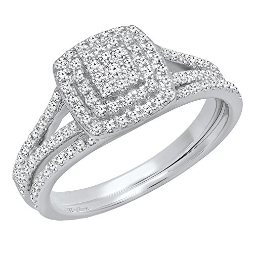 Dazzlingrock Collection 0.50 Carat (ctw) 14K Round Diamond Ladies Cluster Engagement Ring Set 1/2 CT, White Gold, Size - Cluster Diamond Gold 14k Ring