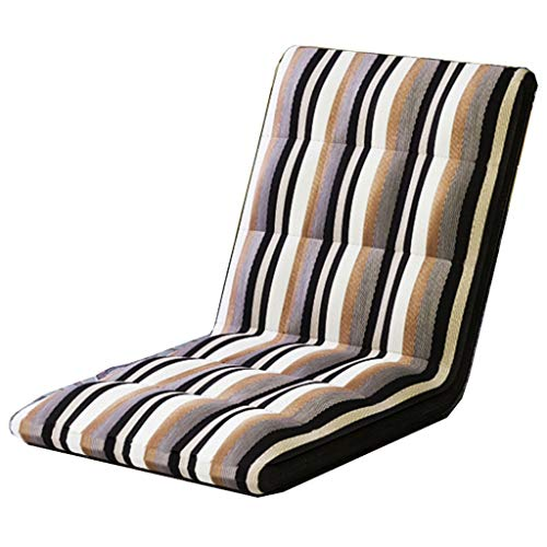Folding chair Backrest Without Legs Single Six-Speed Adjustment Lazy Sofa Bay Window Cushion Dormitory Bed Multi-Color 1005010cm MUMUJIN (Color : Colorful Stripes)