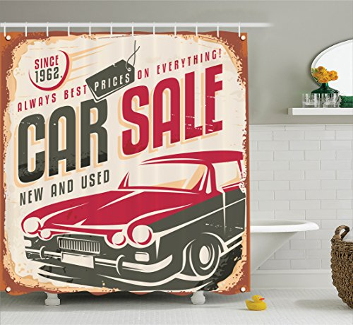 1960s Decor Shower Curtain Set by Ambesonne, Nostalgic Car Sale Sign New and Used Auto Advertising American Style Urban Life Print, Bathroom Accessories, 84 Inches Extralong, Cream Grey Red