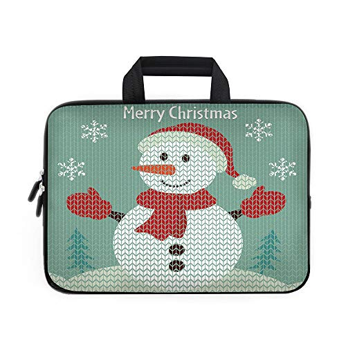 Snowman Laptop Carrying Bag Sleeve,Neoprene Sleeve Case/Traditional Holiday Cute Greeting Snowman Snowflakes Pine Trees Cheerful Decorative/for Apple Macbook Air Samsung Google Acer HP DELL Lenovo - Kit 17077