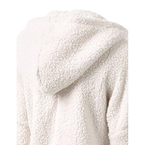 Fleece Giacca Lunghe Nero Verde Zip Scuro Rosa Giacche Donna Beige Parka Maniche Cappotto Cappottino Sportive Yying Chiaro Grigio Bianco S5Rq5