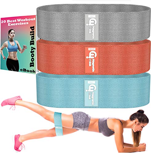 Booty Bands Workout Set for Legs and Butt, Fabric Resistance Hip Band for Glute Activation, Made for Beginner, Intermediate and Professional Use