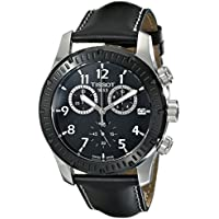Tissot V8 Chronograph Black Dial Black Leather Men's Watch